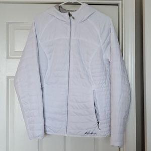 Eddie Bauer White Quilted Jacket  w/hood